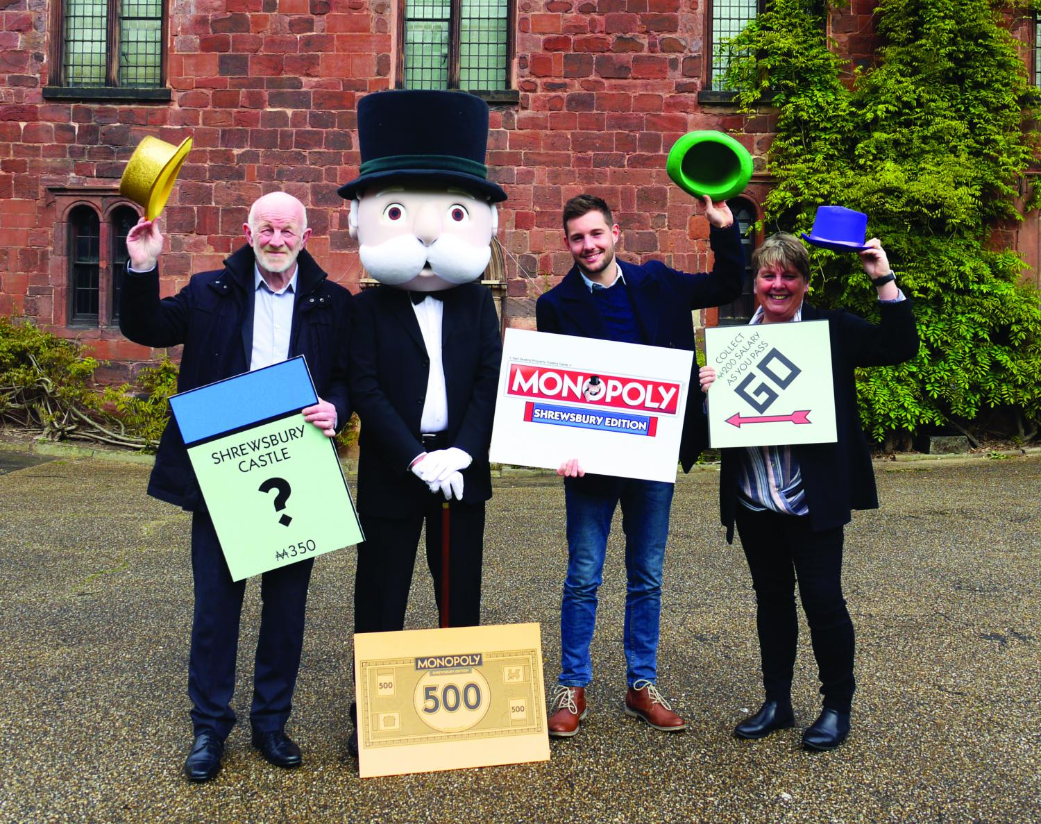 Shrewsbury Town Council's LeaderAlan Moseley, Mr Monopoly, Jake Houghton, Winning Moves and Lezley Picton, Portfolio Holder for Culture and Leisure.